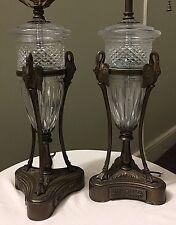 Vintage Neoclassical Style Lamps Pair Swan Glass Ormolu