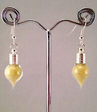 Handmade Funky Earrings Mini Glass Bottle Filled w Daffodil Yellow Caviar Beads