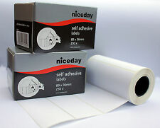 250 Self Adhesive White Labels postage address roll 36x89mm Sticky