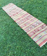 "Primitive Turkish Kilim Runner,Vintage Kitchen Rug,Hallway Rug Runner 2'4""x11'2"""