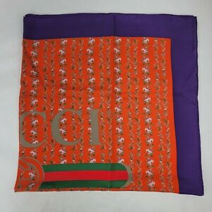 Gucci Orange Silk Purple Edge Floral Print and GRG Logo Square Scarf 499123 7570