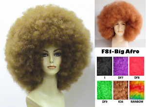 70S 60S 80S DISCO FEVER DIVA RETRO MEGA JUMBO BIG AFRO COSTUME WIG BLACK BROWN
