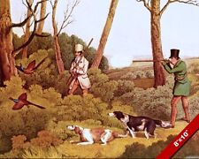 MEN PHEASANT HUNTING SHOOTING & HUNTING DOGS PAINTING ART REAL CANVAS PRINT