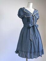 axes femme Dress Japan-M Blue Denim Blue dungaree Cotton blended Bowbelt Spring