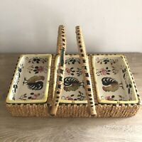 NASCO Hand Painted Ceramic Rooster Dish Set Divided Wicker Basket 3-pc Kitchen