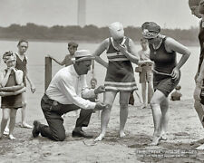 Vintage 1922 Photo BEACH COP Measuring BATHING SUITS * ROARING 20s Swimsuits Odd