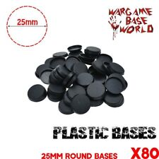 Gaming Miniatures 80PCS of  Round 25mm Plastic Bases