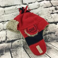 Baby Gap Sz S-XS Hat Red Sherpa Lined Trapper Beanie Warm Winter Cap