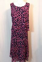 Stunning Jacques Vert navy/pink hearts sleeveless dress, size 16