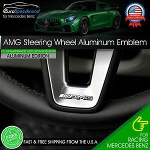 AMG Steering Wheel Emblem Aluminum Interior Badge Mercedes Benz Logo A B C E S