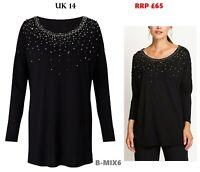 East Embellished Jersey Top, Black UK 14--  RRP £65