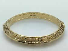 18K Women's Yellow Gold Italian Filigree Flower Bangle Bracelet Size 7,13.3 gram