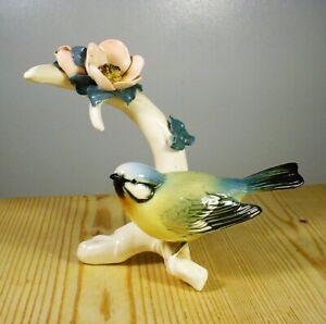 Karl Ens Blue Tit on Dog Rose Branch Porcelain Figurine