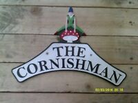 Affordable Cast Metal CORNISHMAN PIXIE Steam Railway Sign no enamel train