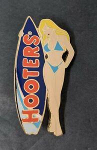 Hooters Lapel Hat Pin Blonde Surfer Girl Light Blue Bikini Dark Blue Surf Board