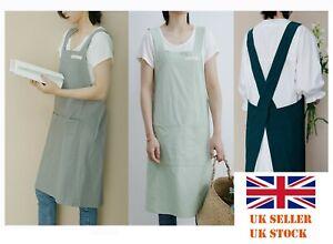 Women Ladies Cotton Dungaree Apron Japanese Housework Wrap Pinafore Dress Pocket