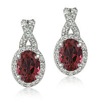 925 Sterling Silver 3ct Garnet & White Topaz X and Oval Drop Earrings