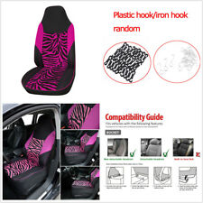 1Pc Rose Red Zebra Print Car Front Seat High Back Bucket Cover Protector Cushion(Fits: Badger Fwd)
