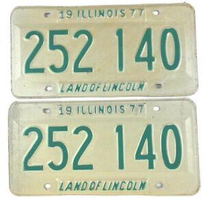 Illinois 1977 Pair Old License Plate Garage Vintage Car Set Man Cave Classic Tag