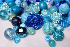 Blue Bulk Beads, 1/2 Lb Quality, Resin, Acrylic Wood Bubblegum Beads BB101
