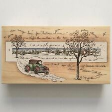 Stamps Happen Home For Christmas Rubber Stamp D Morgan Snow Antique Car Lg Wood