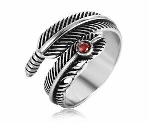 Men/Women Red Cubic Zircon Vintage Feather Silver Titanium Steel Ring Size 8-12