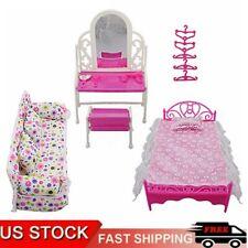 8 pcs Princess Furniture Accessories Kids Gift For Barbie Doll Dresser Sofa Bed