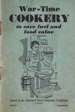 War Time Cookery Booklet World War 2 Food Vintage Rationing Home Front 1940