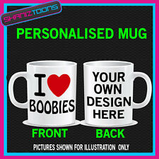 I LOVE HEART BOOBIES MUG BIRTHDAY GIFT PERSONALISED
