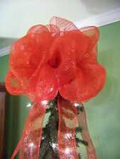 Jumbo Red Deco Mesh Christmas Tree Topper Bow