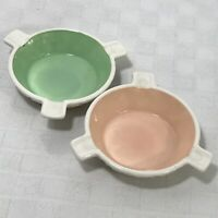 Milk Glass Pink Green Ashtray Vintage Set 2