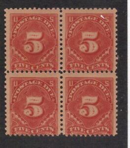 Scott # J64 beautiful block of postage due Lightly hinged