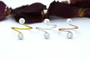Adjustable Toe Ring Choose Your Finish made with White Opal Swarovski Elements