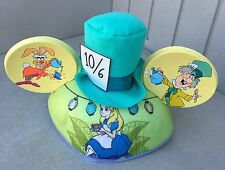 Disney Park Alice In Wonderland Mad Hatter Cheshire Cat Mickey Mouse Ear Hat Cap