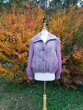 Vintage women Donegal Irish wool mohair pink cardigan sweater fits M