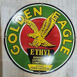 EAGLE ETHYL 30 INCHES ROUND VINTAGE ENAMEL SIGN