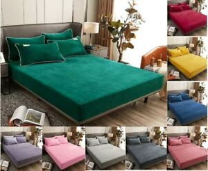Winter Warm Solid Flannel Elastic Ribbon Fitted Sheets Mattress Covers