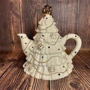The Jeweled Christmas Tree Tea Pot Lenox 2003 24kt Gold Trim Perfect Condition!