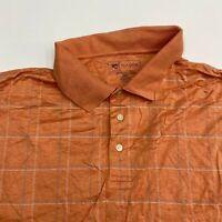 Jos A Bank Polo Golf Shirt Men's Size 2XLT Short Sleeve Orange Plaid Cotton