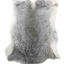 "Gray 16""x9"" Genuine Natural Rabbit Fur Skin Tanned Leather Hide Craft Pelt Decor"