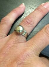 Rustic Silver Ball Ring Size 7 Handmade