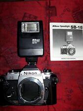 Vintage Nikon Fg 35mm Slr Film Camera Body and extras