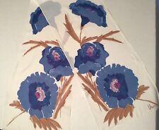 "11"" x 52"" Vtg 60s 70s Long Vera Floral Blue Purple Neck Head Scarf"