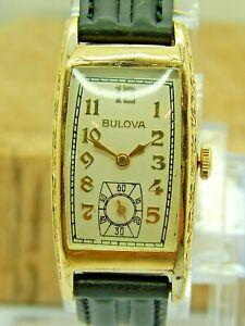 "Vintage 1937 Bulova ""minute man"" 17 jewel gents 42.5mm long deco curvex watch"