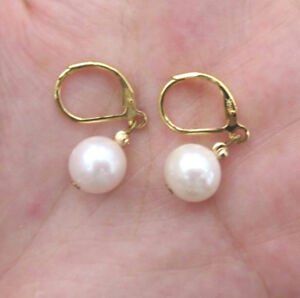 Real Photos AAAA Natural Round White Akoya Pearl Earrings 14k Cute Lovely