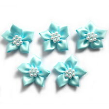 Poinsettia Flower Satin Ribbon Bows With Pearl Effect Bead Circle 3.5cm Wide Pale Blue 10