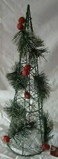 """18"""" Artificial Wire Cone Shape Pine Red Jingle Bell Table Top Christmas Tree"""