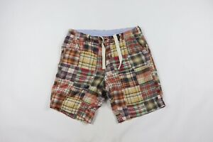 J Crew Mens Size 33 Multi-Color Patch Work Plaid Summer Field Shorts Cotton