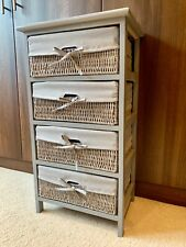 Grey Rustic Shabby Chic Storage Drawers Bedside Tables Wicker Baskets