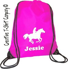 CERISE PINK PERSONALISED  EQUESTRIAN, HORSE or PONY CLUB, DRAWSTRING, TACK BAG,